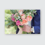 Bride Holding Beautiful Bridal Bouquet Wedding Poster, Pillow Case, Tumbler, Sticker, Ornament