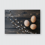Easter Eggs Nest On Rustic Wooden Poster, Pillow Case, Tumbler, Sticker, Ornament