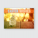 Easter Greeting Against Tranquil Autumn Scene Poster, Pillow Case, Tumbler, Sticker, Ornament