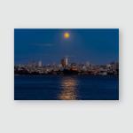 Panorama Pink Moonrise Above San Francisco Poster, Pillow Case, Tumbler, Sticker, Ornament