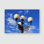 Italy Pigeons On Street Lamps Poster, Pillow Case, Tumbler, Sticker, Ornament