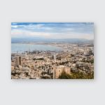 Panorama Haifa Port Modern Buildings Sunset Poster, Pillow Case, Tumbler, Sticker, Ornament