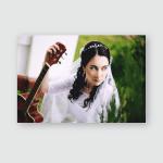 Bride Brunette Holds Guitar Hand Looks Poster, Pillow Case, Tumbler, Sticker, Ornament