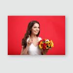 Smiling Brunette Woman Bouquet Flowers Long Poster, Pillow Case, Tumbler, Sticker, Ornament