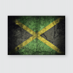 Jamaica Flag Pattern On Dirty Old Poster, Pillow Case, Tumbler, Sticker, Ornament