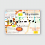 Brigham City On Usa Road Map Poster, Pillow Case, Tumbler, Sticker, Ornament