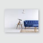 Bright Apartment Blue Sofa Bench Rug Poster, Pillow Case, Tumbler, Sticker, Ornament