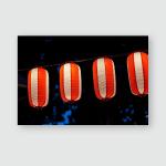 Paper Lantern Orange Color Decoratiion Chinatown Poster, Pillow Case, Tumbler, Sticker, Ornament