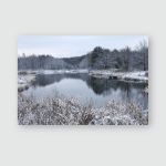 Winter Landscape First Snow Field Near Poster, Pillow Case, Tumbler, Sticker, Ornament