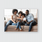 Smiling Young African American Family Sit Poster, Pillow Case, Tumbler, Sticker, Ornament