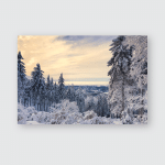 Winter Landscape Trees Mountains Covered Hoarfrost Poster, Pillow Case, Tumbler, Sticker, Ornament