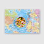 Bright Multicolored Easter Eggs On Colorful Poster, Pillow Case, Tumbler, Sticker, Ornament