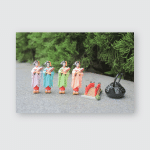 Japanese Geisha Dolls Culture Traditiona On Poster, Pillow Case, Tumbler, Sticker, Ornament