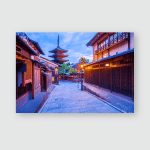 Japanese Pagoda Old House Kyoto Twilight Poster, Pillow Case, Tumbler, Sticker, Ornament