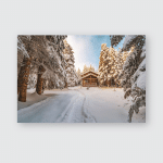 Winter Landscape Snowcovered Trees Snow On Poster, Pillow Case, Tumbler, Sticker, Ornament