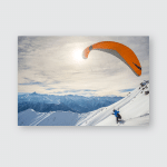 Paraglider Running On Snowy Slope Take Poster, Pillow Case, Tumbler, Sticker, Ornament