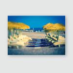 Parasols Sunbeds On Beach Retro Photo Poster, Pillow Case, Tumbler, Sticker, Ornament
