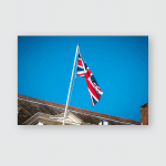 British Flag On Building Old Town Poster, Pillow Case, Tumbler, Sticker, Ornament