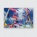 Brightly Coloured Flags Wave Against Bright Poster, Pillow Case, Tumbler, Sticker, Ornament