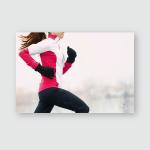 Winter Running Athlete Woman On Cold Poster, Pillow Case, Tumbler, Sticker, Ornament