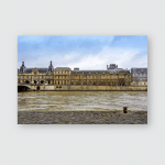 Paris Seine River Walkway Showcasing Green Poster, Pillow Case, Tumbler, Sticker, Ornament