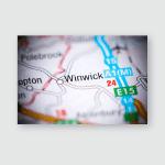 Winwick United Kingdom On Map Poster, Pillow Case, Tumbler, Sticker, Ornament