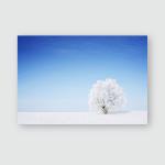 Winter Tree Field Blue Sky Poster, Pillow Case, Tumbler, Sticker, Ornament