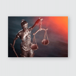 Bronze Justice Lady Scales On Background Poster, Pillow Case, Tumbler, Sticker, Ornament