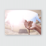 Wish Empty Hand Man Blurred Background Poster, Pillow Case, Tumbler, Sticker, Ornament