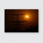 Partial Eclipse On Highvoltage Evening Poster, Pillow Case, Tumbler, Sticker, Ornament