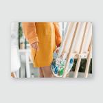 Partial View Artist Orange Clothing Holding Poster, Pillow Case, Tumbler, Sticker, Ornament
