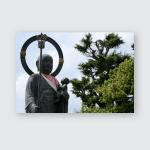 Jizo Statue Holding Baby Poster, Pillow Case, Tumbler, Sticker, Ornament