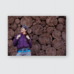 Woman Backpack Against Wall Background Felled Poster, Pillow Case, Tumbler, Sticker, Ornament