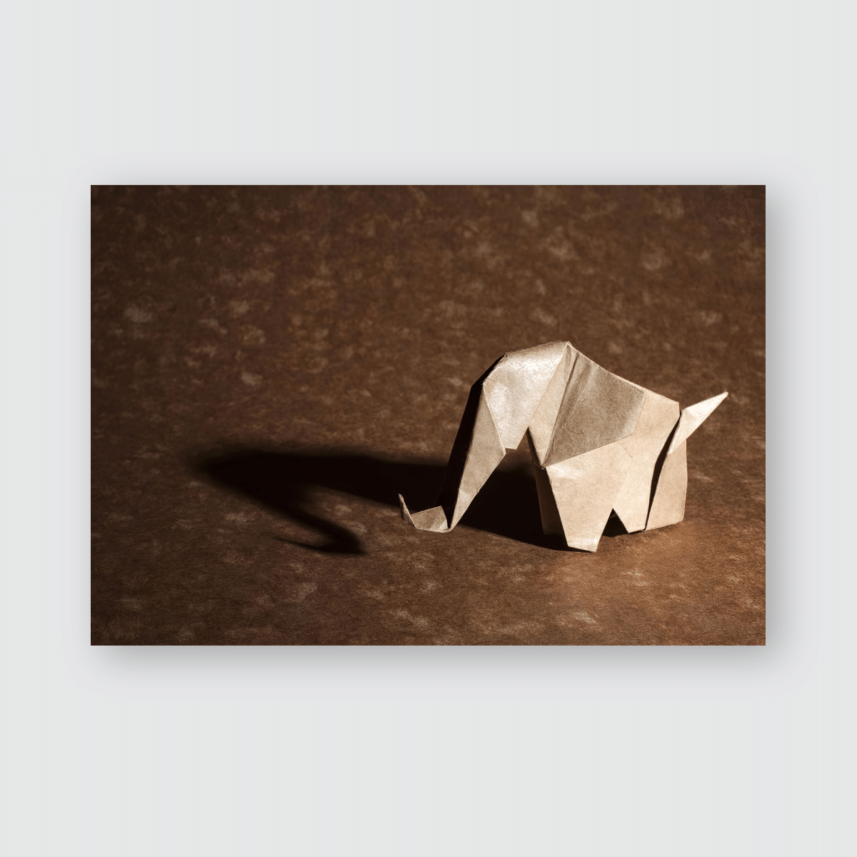 Brown Origami Elephant Isolated On Craft Poster, Pillow Case, Tumbler, Sticker, Ornament