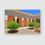 Patio San Salvador Church Small Green Poster, Pillow Case, Tumbler, Sticker, Ornament