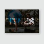 Woman Doing Exercises Yoga Ball Smiles Poster, Pillow Case, Tumbler, Sticker, Ornament