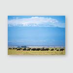 Elephants Kilimanjaro Foothills Sunny Day Horizontal Poster, Pillow Case, Tumbler, Sticker, Ornament
