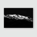 Snowy Mountain Black White Fine Art Poster, Pillow Case, Tumbler, Sticker, Ornament
