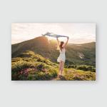 Woman Feel Freedom Enjoying Nature Mountains Poster, Pillow Case, Tumbler, Sticker, Ornament