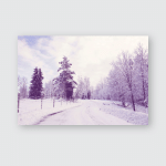 Snowy Plowed Road That Leads Towards Poster, Pillow Case, Tumbler, Sticker, Ornament