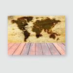Paving Burned Map World On Wood Poster, Pillow Case, Tumbler, Sticker, Ornament
