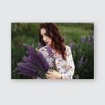 Brunette Flower Field Girl Holds Lupines Poster, Pillow Case, Tumbler, Sticker, Ornament