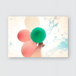 Woman Hand Holding Multicolor Balloons Against Poster, Pillow Case, Tumbler, Sticker, Ornament