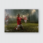 Soccer Players On Professional Night Rain Poster, Pillow Case, Tumbler, Sticker, Ornament