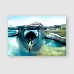 Penguin Under Water Looking Camera Poster, Pillow Case, Tumbler, Sticker, Ornament