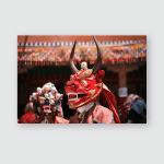 Buddhist Mystery Performance Mask Dance Tibetan Poster, Pillow Case, Tumbler, Sticker, Ornament