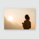 Woman Traveler Silhouette Starting New Day Poster, Pillow Case, Tumbler, Sticker, Ornament