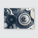 Engine Gears Wheels Closeup View Poster, Pillow Case, Tumbler, Sticker, Ornament
