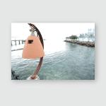 Woman Walking By Rocky Sea Beach Poster, Pillow Case, Tumbler, Sticker, Ornament