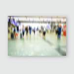People Walking Metro Station Blurred Motiontravelers Poster, Pillow Case, Tumbler, Sticker, Ornament